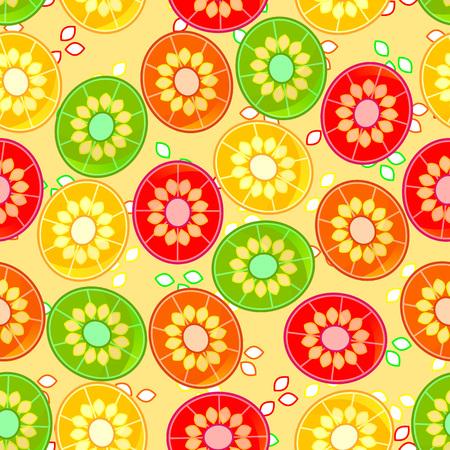 Vector seamless pattern with lemon, orange, grapefruit, lime slices; background for cards, web, textile with jicie fruits slices; exotic fruits icons isolated on yellow; light yellow exo background. Illustration