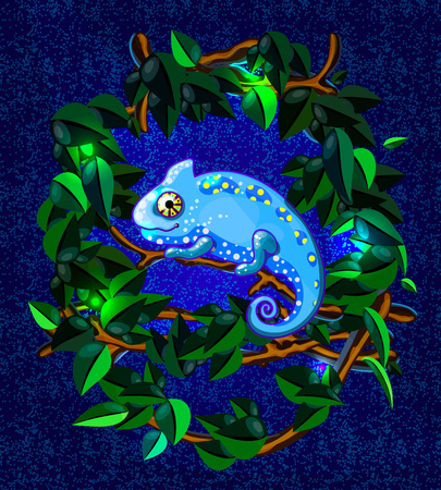 Vector illustration with blue cartoon style smiling chameleon on green branch
