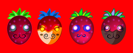 Cartoon bright fruit emoji characters; casual  fruit web design elements; cartoon style game art; red juicy colors berries smiles