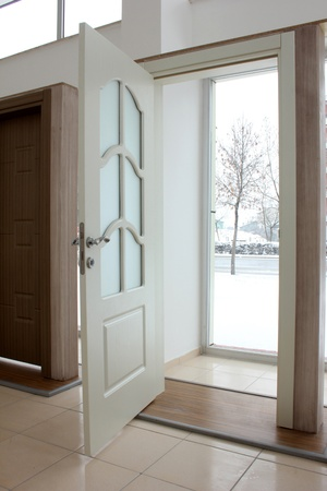 front entry: wood door