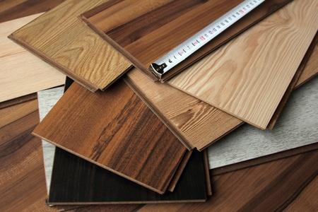 wooden metre: laminate Stock Photo
