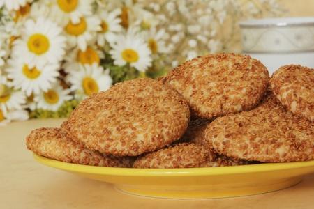cake factory: Sesame Cookies Stock Photo