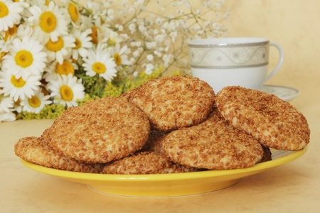 high calorie: Sesame Cookies Stock Photo