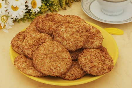 biscuit factory: Sesame Cookies Stock Photo