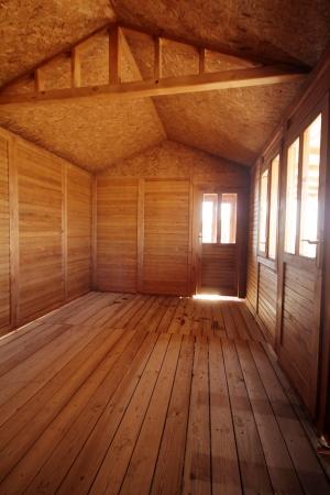 osb: Wooden House Stock Photo