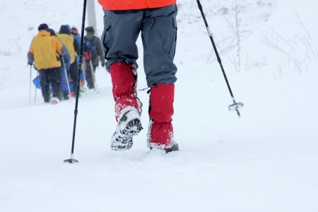 peccadillo: Alpinists walking in snow Stock Photo