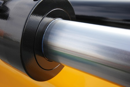 chrome cylinder: hydraulic system Stock Photo