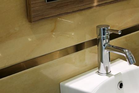 household fixture: modern bathroom sink Stock Photo