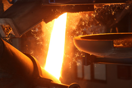 foundry: Molten Metal Poured at Foundry