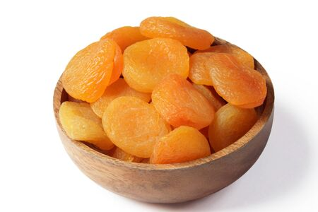 purgative: dried apricots isolated on white Stock Photo