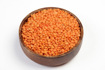 fiber food: red lentils isolated on white Stock Photo