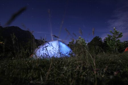 highlands region: Camping under the stars at nigh Stock Photo