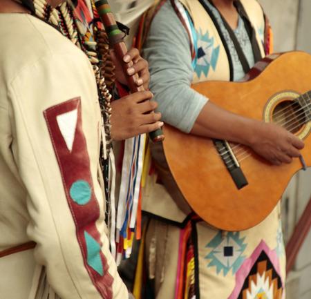 peruvian ethnicity: Native americans street musicians Stock Photo