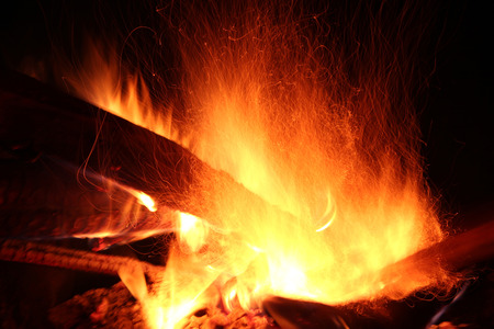 Fire flames in the night  Stock Photo