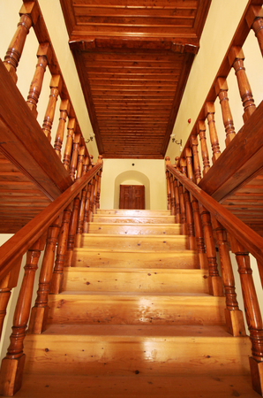no entrance: Wooden staircase background