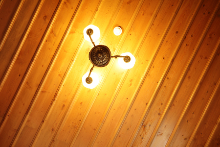 ceiling: Wooden Ceiling and Lamp