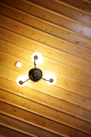 Wooden Ceiling and Lamp