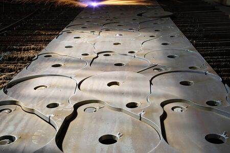 cutting: Industrial laser with sparks
