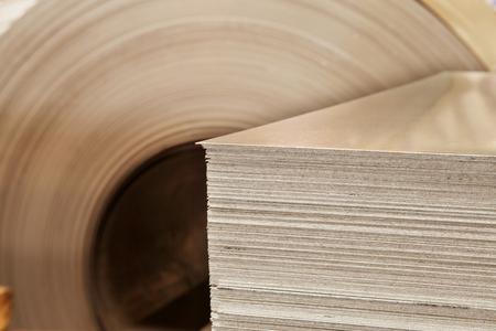 Large aluminium steel rolls in the factory