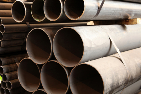 large steel pipes in the factory