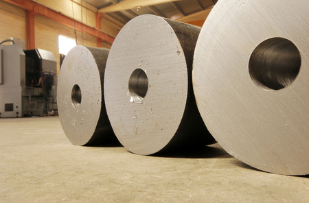 Large steel rolls in the factory 免版税图像
