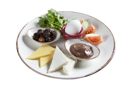 Turkish breakfast plate isolated on white