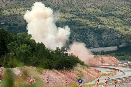 construction site dynamite blasting