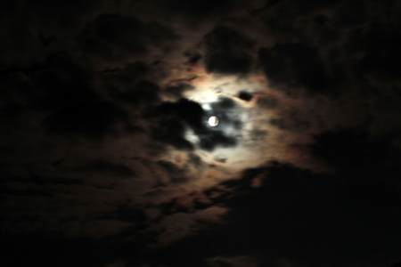 night cloudy sky and moon