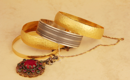 gold and silver jewelry 写真素材