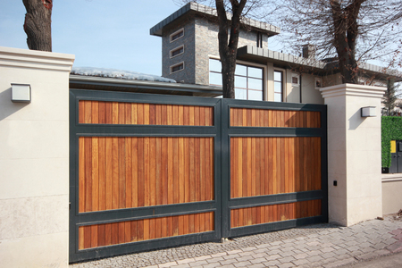 automatic wooden entry door 스톡 콘텐츠 - 122225899