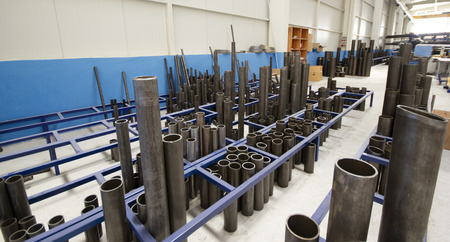 steel pipes in the factory Imagens