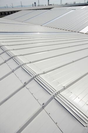 Metal roof of industrial warehouse
