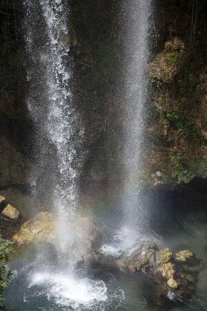 beautiful waterfall photo background, rocky field Фото со стока
