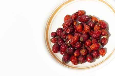 dried red ripe rosehip fruit