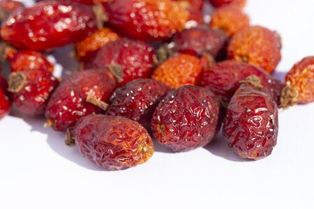 dried red ripe rosehip fruit Stockfoto