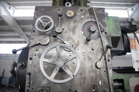 Mechanical industry old machinery lathe. Old technology.