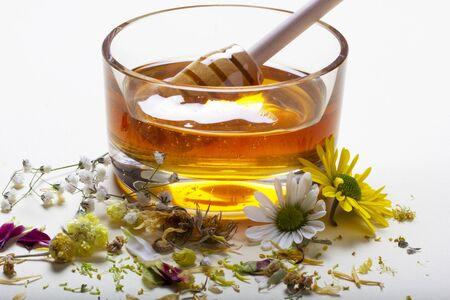 organic honey plate and flowers