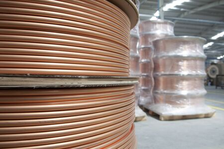 new copper pipes at the factory
