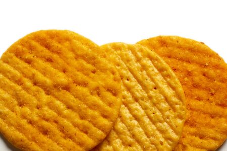 crispy spicy crackers on white background 版權商用圖片