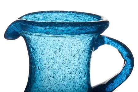 decorative blue glass jug old