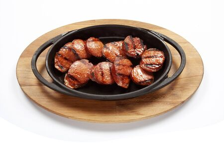 Fried sausage for breakfast - Turkish Sucuk