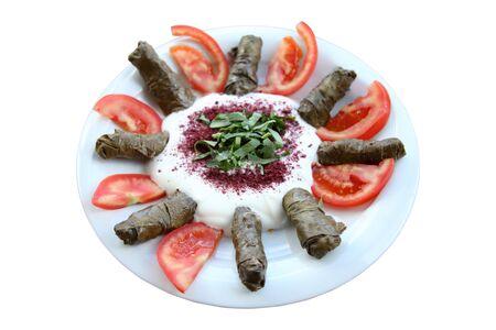 Stuffed grape leaves, turkish cuisine. Imagens