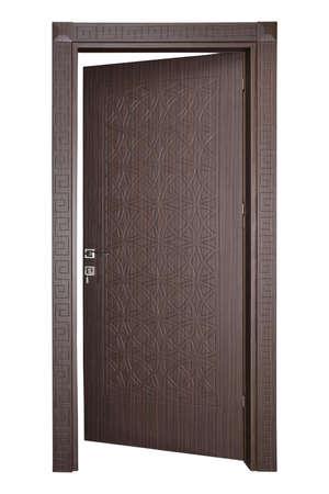 Modern wooden door on a white background