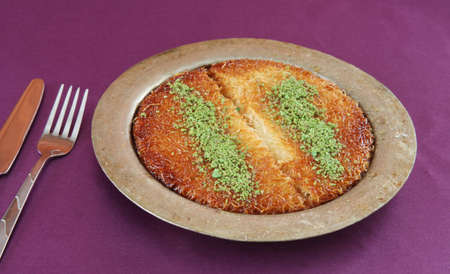Delicious and Traditional Turkish Dessert Kunefe. Turkish Culture.