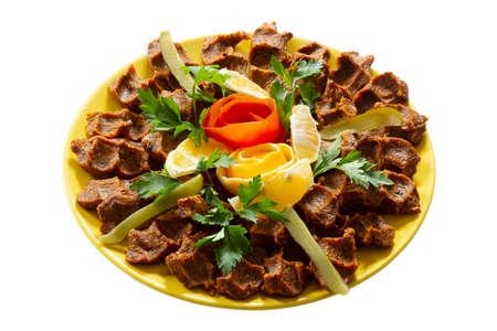 "A famous Turkish traditional food, Raw Kofta ""Cig Kofte"" on plate"