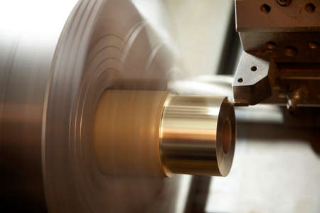 CNC Lathe Processing. Metalworking industry.