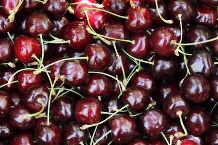Fresh ripe cherries. Food background. Banque d'images