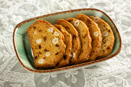 Crispy biscuits with fruit. Italian biscotti.