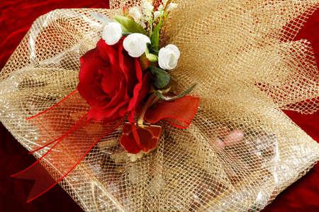 Gift chocolates on velvet fabric.