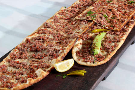 Turkish traditional minced meat pide. Turkish pizza, Etliekmek.